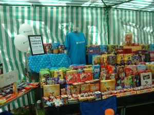 Chocolate Tombola all set up. Barclays bank provide £ 4 £ on this stalls takings.