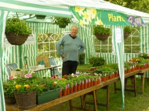Mike all set up on the Bedding Plant stall