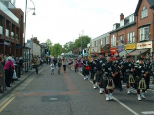 The procession in Cheadle High Street
