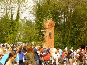 The climbing wall sponsored by Go Outdoors